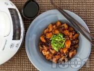Рецепта Пържени патладжани на кубчета с картофи по китайски в Делимано Мултикукър